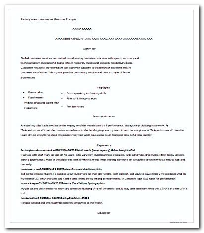 Factory Worker Resume by Writing Warehouse Worker Cover Letter For Your Application Resume