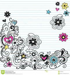 marker notebook doodles swirls and flowers stock photos