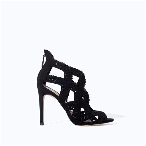 Cross High Heel Sandals zara criss cross high heel sandal in black lyst