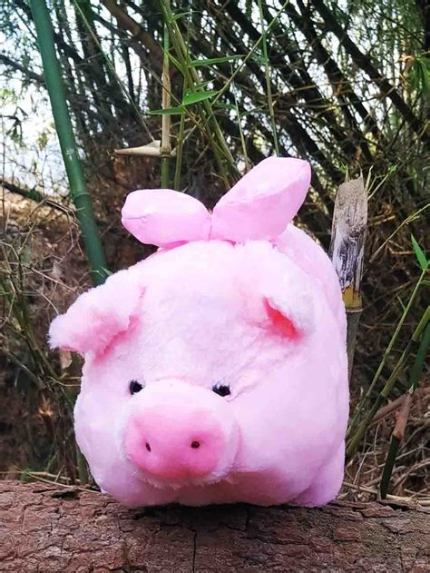 Boneka Babi Jumbo Pig jual boneka pig pink muda menggunakan pita polkadot