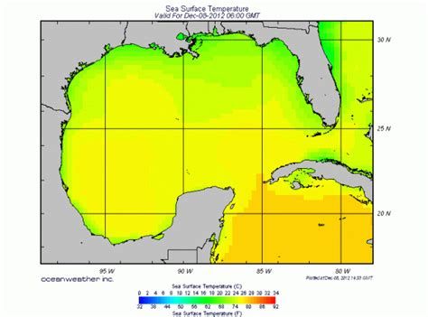 water temperature gulf of mexico sea surface temperature gulf of mexico 8 dec 2012 0600 gmt