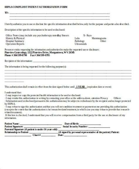 Hippa Release Form Sle 9 Exles In Word Pdf Hipaa Compliant Release Of Information Template