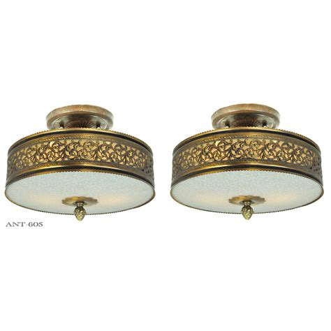 Drum Shade Light Fixture Vintage Semi Flush Mount Ceiling Lights Pair Of Drum Shade Fixtures Ant 605 For Sale
