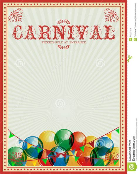 carnival poster template carnival background colorful balloons circus vintage