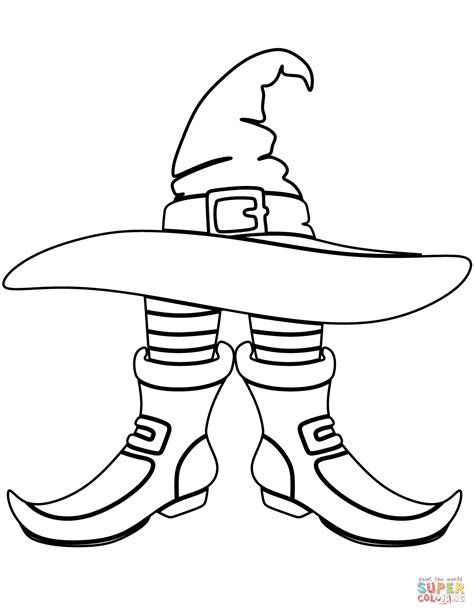 witch shoe coloring page witch hat and boots coloring page free printable