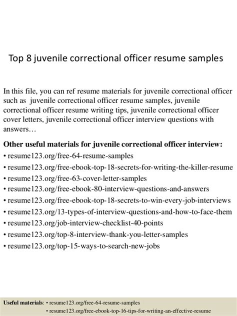 Resume Objective Juvenile Detention Officer Top 8 Juvenile Correctional Officer Resume Sles