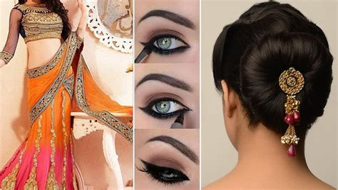 Indian Wedding Hairstyles For Hair Step By Step by Lehenga Style Saree Draping With Makeup And Hairstyle Step