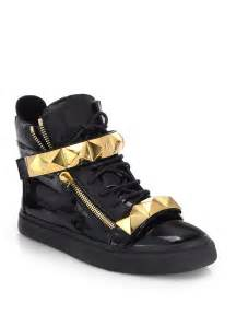 giuseppe zanotti pyramid bar high top sneakers in black