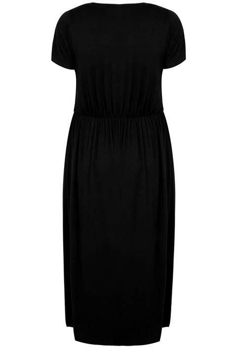 YOURS LONDON Black Maxi Dress With Elasticated Waist, plus