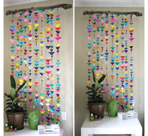 Handmade Wall Hangings Ideas - wall decoration ideas with paper colorful triangle pattern