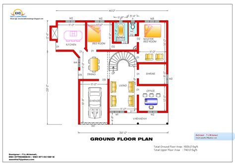 ground floor plan for 1000 sq feet home plan and elevation 2365 sq ft architecture house