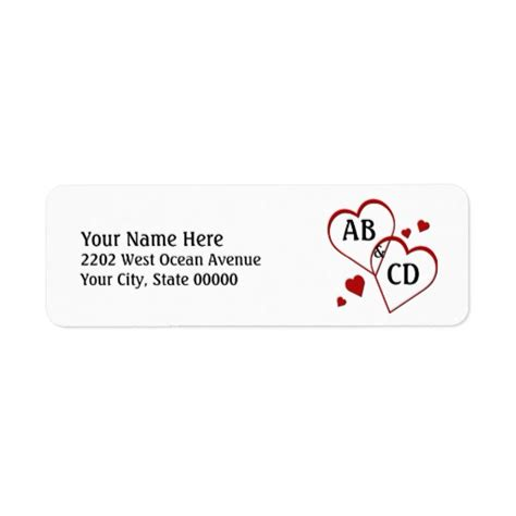 return address templates free two hearts template return address label zazzle