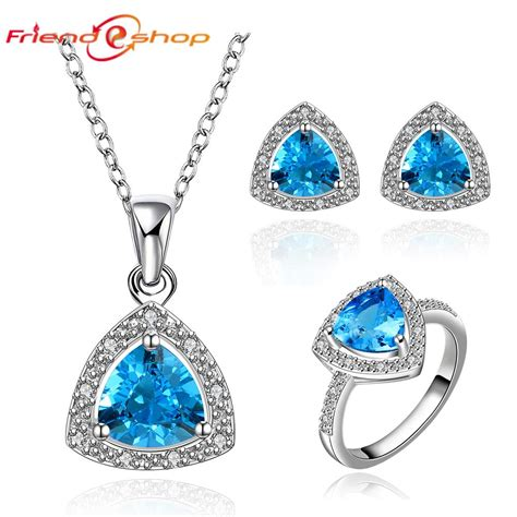 fs024 wedding jewelry sets bijoux women sapphire jewelry