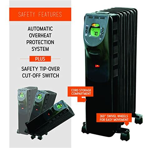 feature comforts oil filled radiator heater electric oil filled radiator heater with digital display