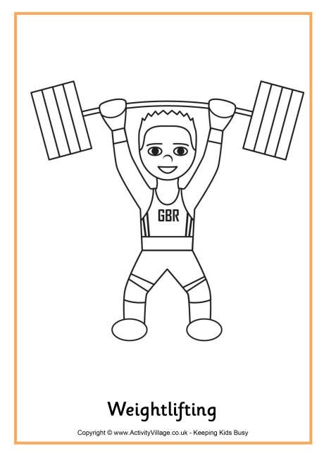 weightlifting colouring page
