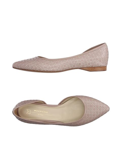 Weekend Flats Shoes lyst weekend by maxmara ballet flats in pink