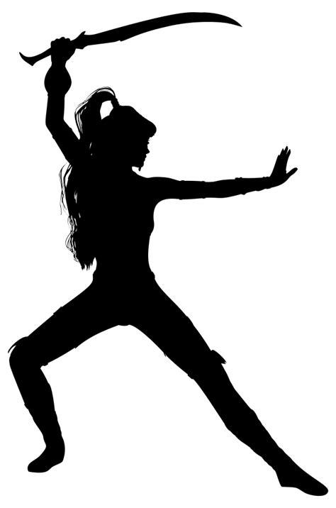 OnlineLabels Clip Art - Swordswoman Silhouette Variation 2