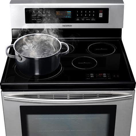 Samsung Induction Range Samsung Ftq307nwgx 30 Quot Freestanding Induction Range With 4 Cooktop Elements 5 9 Convection Oven