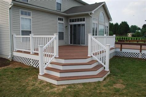 Deck Corner Stairs Design Deck Designs Redwood Deck With Flared Stairs Accessories Photo Gallery