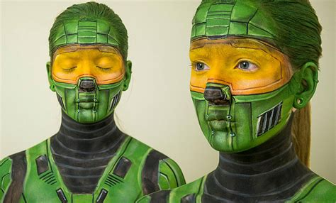 Master Chief Turns Into Mimobot by Self Taught Makeup Artist Turns Herself Into Evil Monsters