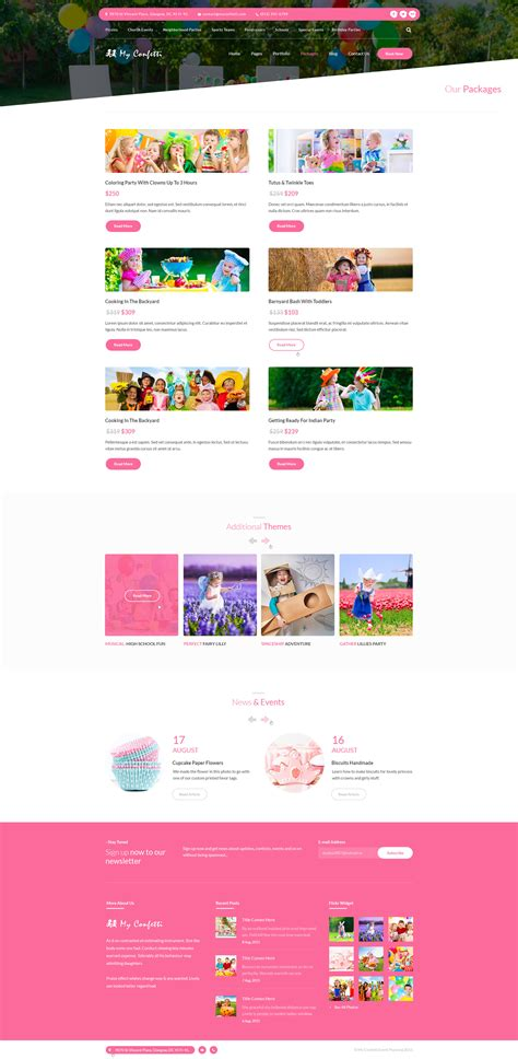 My Confetti Kids Party Planner Psd Template By Diadea3007 Themeforest Event Planning Packages Template