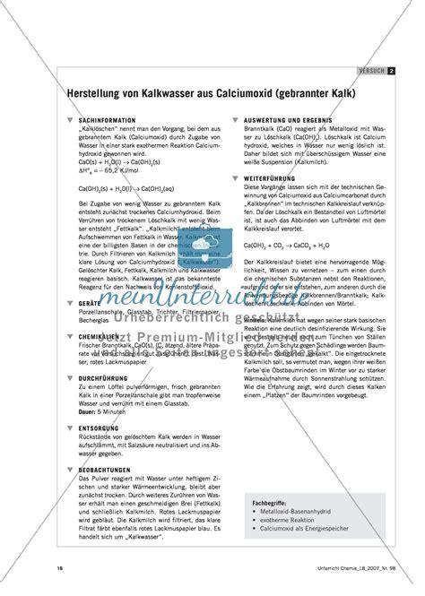 Herstellung Kalkwasser by Herstellung Kalkwasser Experimente F 252 R Einen