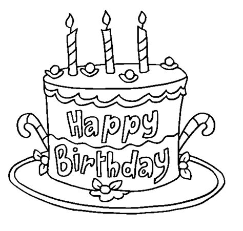 Colour Drawing Free Wallpaper Happy Birthday Cake For Kid Birthday Cake Colouring Pages