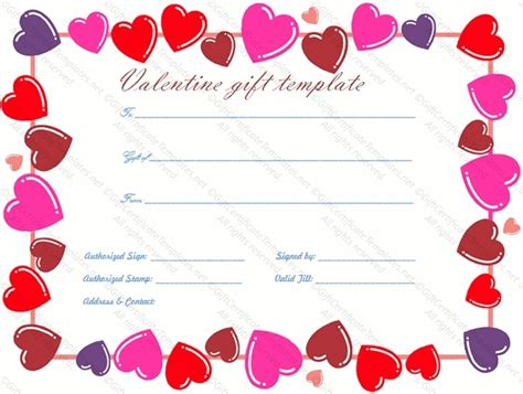 valentines day card template publisher gift certificate template