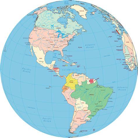 america s americas political map globe