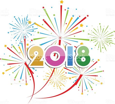 colorful happy new year 2018 vector illustration of colorful fireworks happy new year