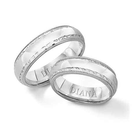 14k white gold etched edge wedding band s jewelers