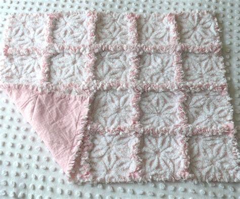 Rag Patchwork Quilt - vintage pink white chenille patchwork rag quilt
