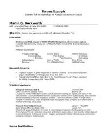 internship wildlife biologist resume exle template