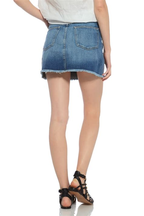 frame denim denim mini skirt in blue fede lyst