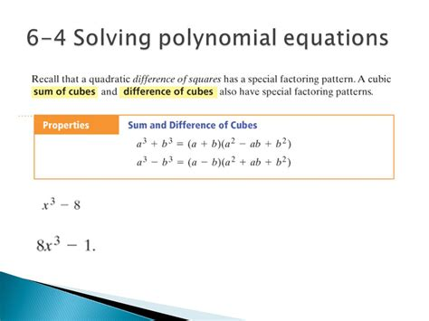 Solving Polynomial Equations Worksheet Answers by Chapter 6 Polynomial Functions Ppt