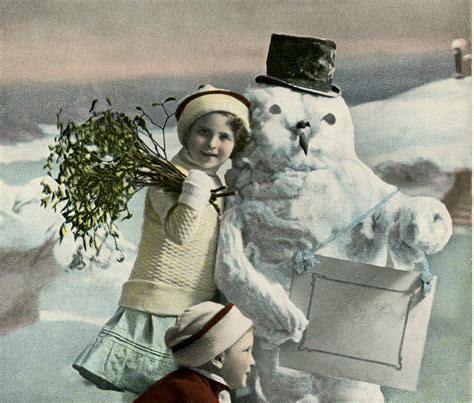 vintage christmas snowman photo  graphics fairy
