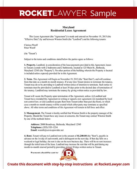 Maryland Lease Agreement Md Rental Contract Form With Sle Md Lease Agreement Template