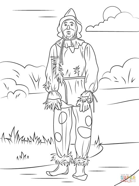 wizard of oz scarecrow coloring page free printable