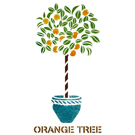 orange tree stencil reusable template for canvas craft wall