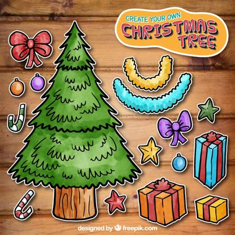 create your own christmas tree vector free download