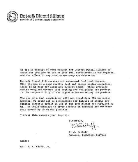 Product Quality Guarantee Letter Sle Detroit Diesel Allison Team Rentar