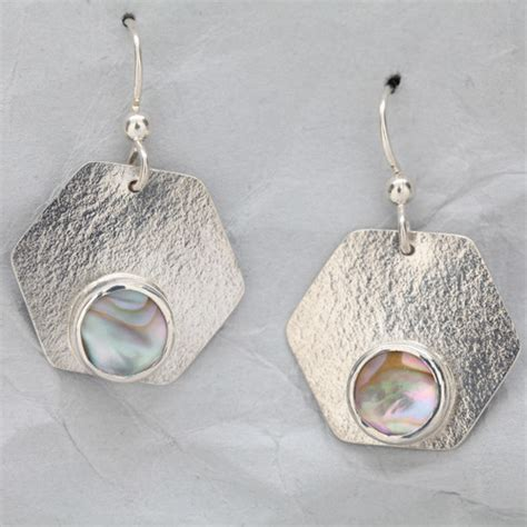 Silver Handcrafted Jewellery - handmade sterling silver earrings with abalone finely