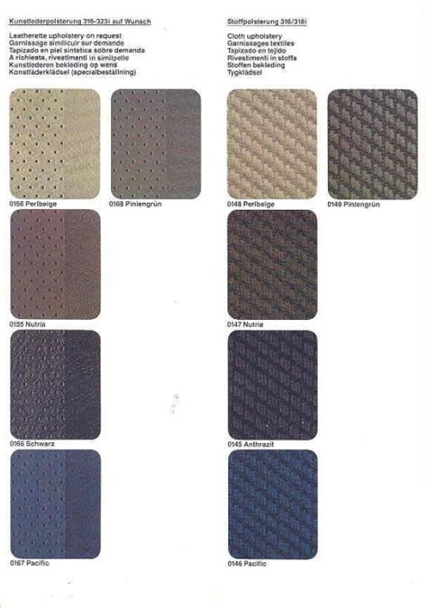 Car Seat Leather Upholstery E30 Seat Upholstery Interior Codes Designs And Options