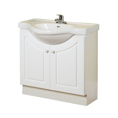 space saving bathroom vanity shop magick woods 32 quot white eurostone bath vanity with top