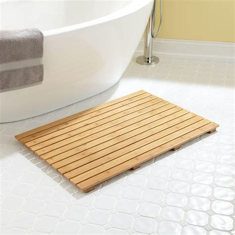 bath mats for showers 36 quot x 24 quot rectangular bamboo bath mat bathroom