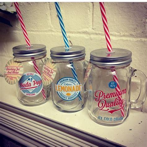 jars with straws glass jars with slogan with straws