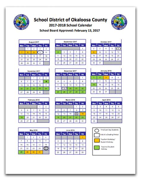 Okaloosa County Search Okaloosa County School Calendar 2017 Calendar 2017