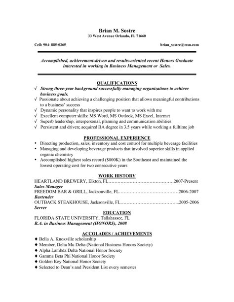 Resume Sles For Recent College Graduates Resume For Recent College Graduate Berathen