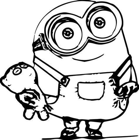 coloring pages minions cute minion coloring pages bob with cute puppies on the hand