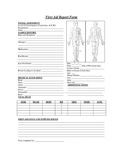 first aid report form 2 free templates in pdf word